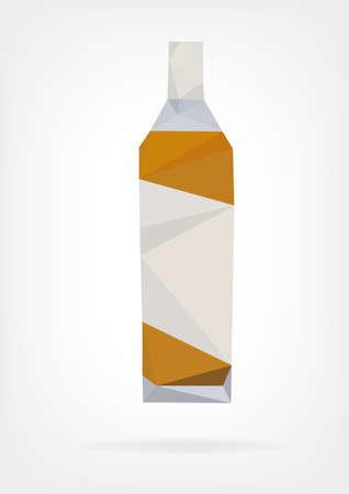 bottle liquor: Botella bajo Poli Licor Vectores
