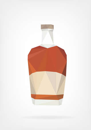 scotch whisky: Low Poly Liquor Bottle Illustration