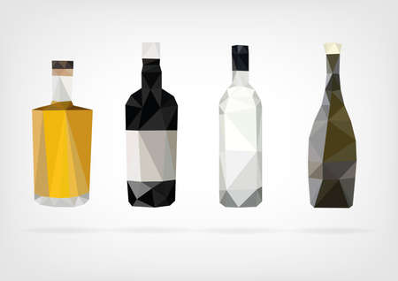 scotch whisky: Low Poly Liquor Bottles
