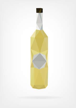 botella de licor: Botella bajo Poli Licor Vectores