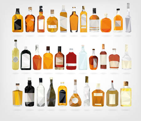 tomando alcohol: Botellas Bajos Poli Licor Vectores