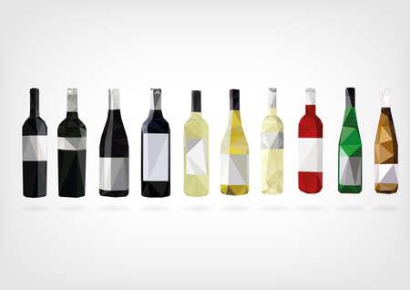 Low Poly Wine Bottles Illustration