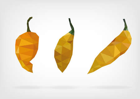 tabasco: Low Poly Yellow Bumpy Pepper Illustration