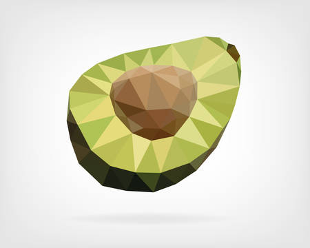 low poly: Low Poly Avocado Fruit Illustration