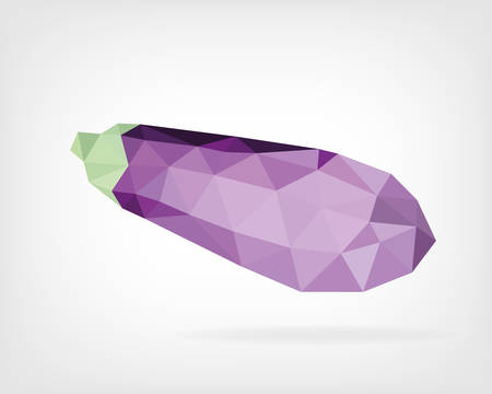 aubergine: Low Poly Eggplant or Aubergine Illustration