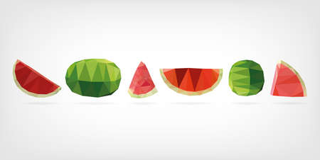 low poly: Low Poly Watermelon fruit Illustration