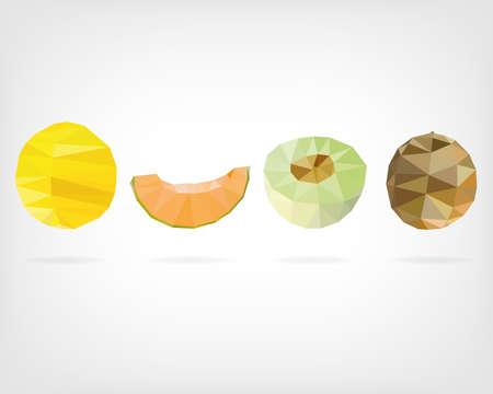 low: Low Poly Honeydew Melon Illustration
