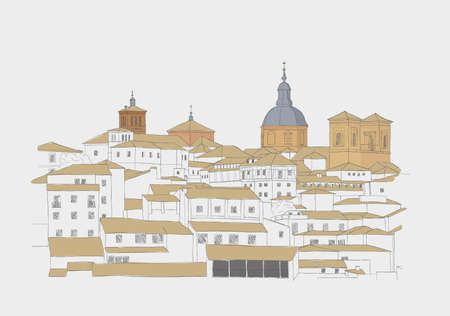 Urban Sketch of the old town of Toledo, Spain