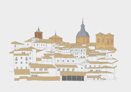 toledo town: Urban Sketch of the old town of Toledo, Spain