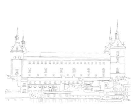 castilla: Urban Sketch of the old town of Toledo, Spain