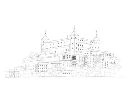 urbane: Urban Sketch of the old town of Toledo, Spain