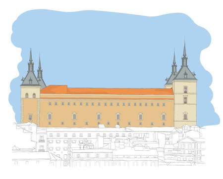 old town: Urban Sketch of the old town of Toledo, Spain