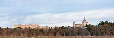 real madrid: Madrid, Spain skyline at Santa Maria la Real de La Almudena Cathedral and the Royal Palace