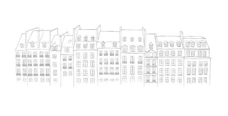 architecture: Architecture of Paris - urban sketch