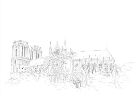notre dame: urban sketch of the Notre Dame Cathedral in Paris