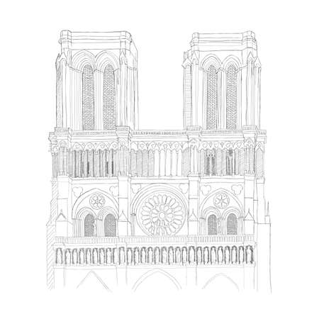 notre: urban sketch of the Notre Dame Cathedral in Paris