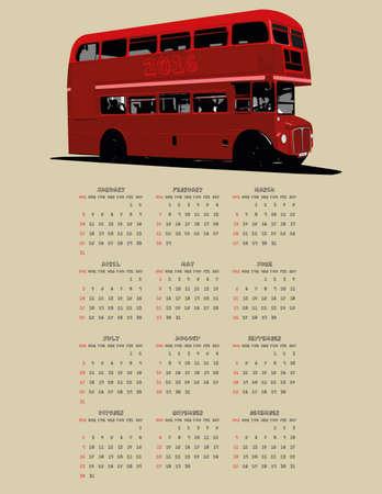 london bus: 2016 London Bus calendar Illustration