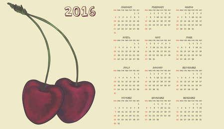 date fruit: 2016 cherry calendar