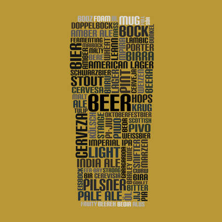 stout: word cloud glass of beer Illustration