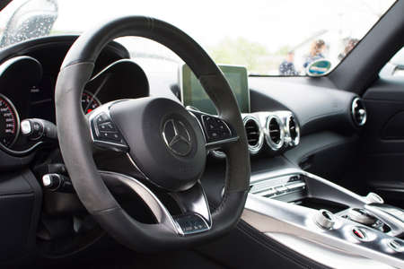 luxus: Deggendorf, Germany - 23. APRIL 2016: interior of a 2016 Mercedes GT S during the luxury cars presentation in Deggendorf.