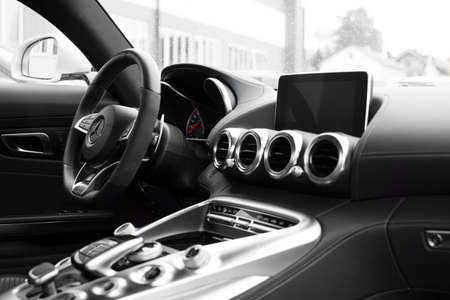 mercedes: Deggendorf, Germany - 23. APRIL 2016: interior of a 2016 Mercedes GT S during the luxury cars presentation in Deggendorf.