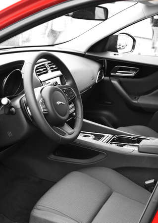 luxus: Deggendorf, Germany - 23. APRIL 2016: interior of a 2016 Jaguar F-PACE SUV during the luxury cars presentation in Deggendorf. Editorial