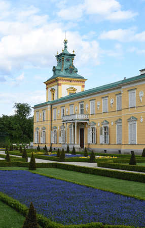 royal park: Royal Wilanow Palace or Wilanowski Palace with park in Warsaw, Poland
