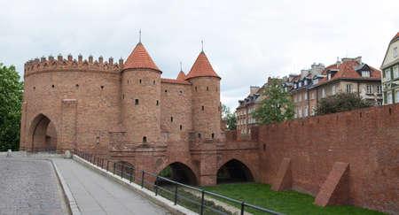 semicircular: Warsaw, Poland - MAY 16, 2016: Warsaw Barbican (Polish: Barbakan Warszawski), semicircular fortified outpost in Warsaw city on May 16, 2016