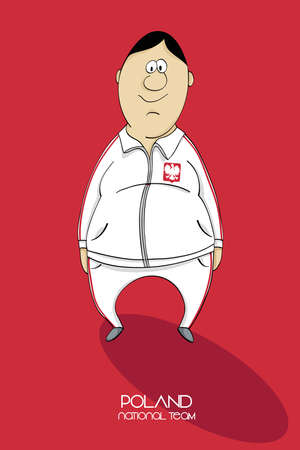 league of nations: Cartoon football player in a jersey of national team of Poland Illustration