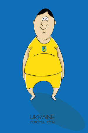 ion: Cartoon football player in a jersey of national team of Ukraine Illustration