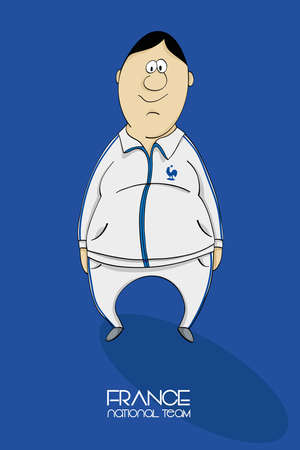 football coach: Cartoon football player in a jersey of national team of France Illustration