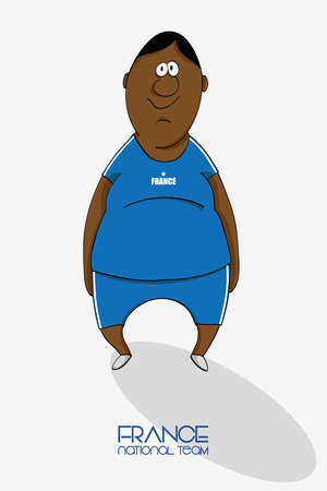 league of nations: Cartoon football player in a jersey of national team of France Illustration