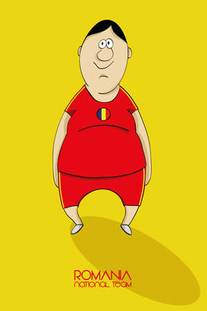 sports winner: Cartoon football player in a jersey of national team of Romania