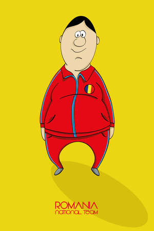 league of nations: Cartoon football player in a jersey of national team of Romania