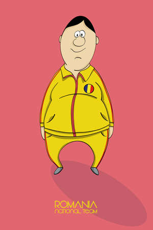 football coach: Cartoon football player in a jersey of national team of Romania