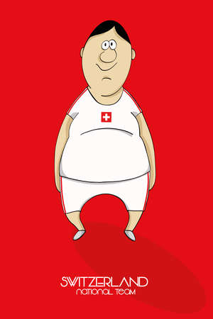 one team: Cartoon football player in national team colors of Switzerland Illustration