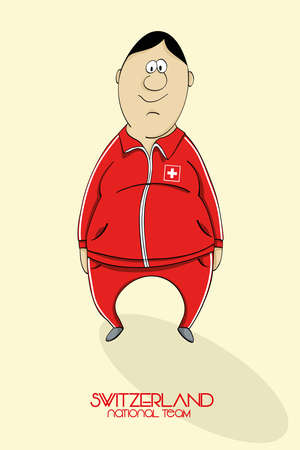 national colors: Cartoon football player in national team colors of Switzerland Illustration