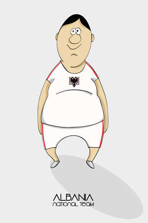 national colors: Cartoon football player in national team colors of Albania