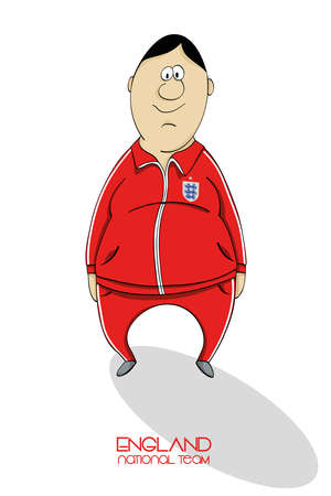 national colors: Cartoon football player in national team colors of England Illustration