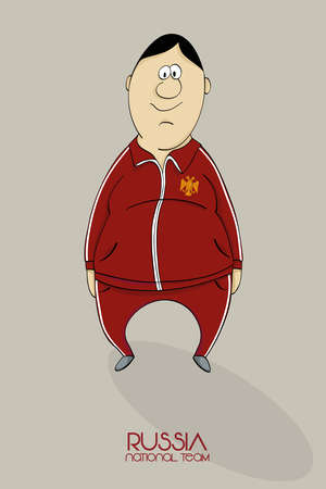 Cartoon football player in national team colors of Russia Illustration