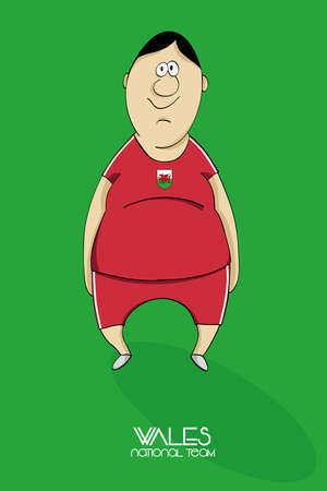 national colors: Cartoon football player in national team colors of Wales