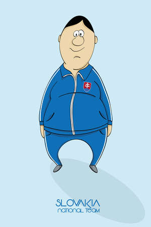 slovakian: Cartoon football player in national team colors of Slovakia
