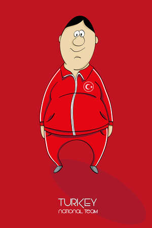 national colors: Cartoon football player in national team colors of Turkey