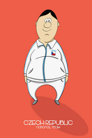 one people: Cartoon football player in national team colors of Czech Republic Illustration