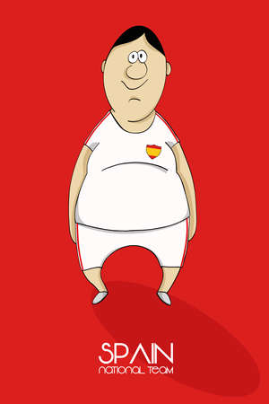 one team: Cartoon football player in national team colors of Spain Illustration