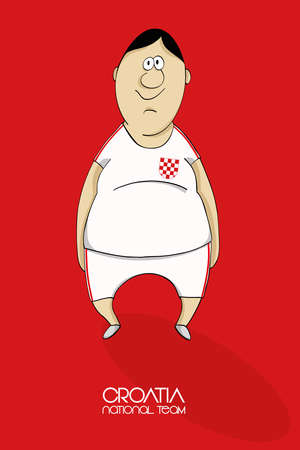 national colors: Cartoon football player in national team colors of Croatia Illustration