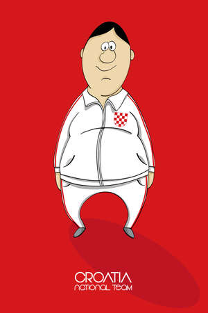 league of nations: Cartoon football player in national team colors of Croatia Illustration
