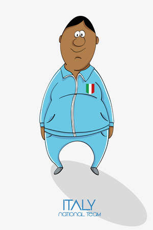 Cartoon football player in national team colors of Italy