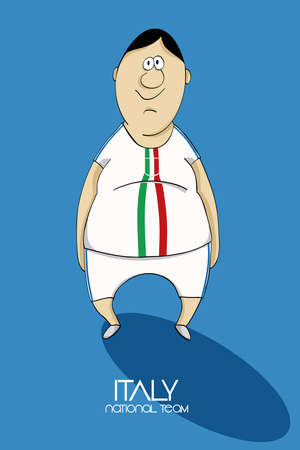 football coach: Cartoon football player in national team colors of Italy