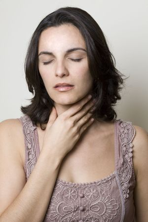 painful: Sore Throat woman Stock Photo